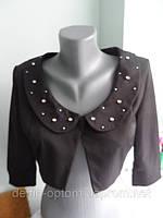 Болеро молодежное женское коттоновое черное с жемчугом