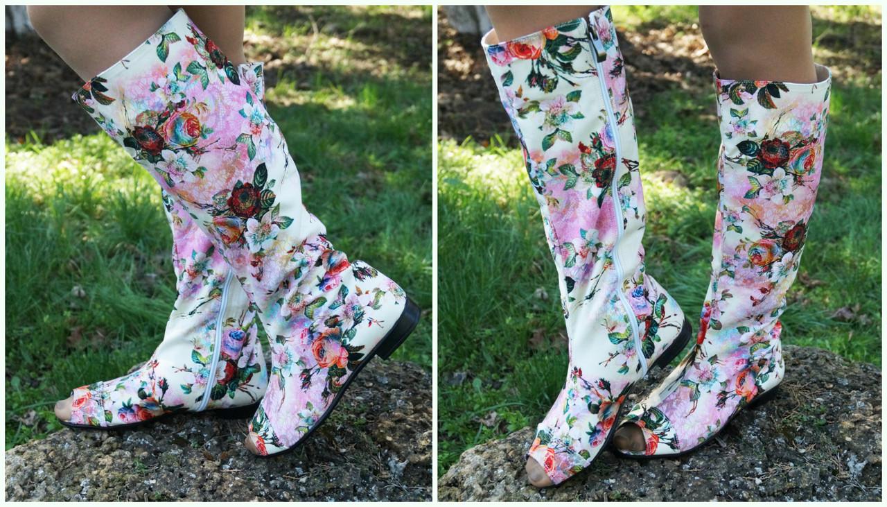 Женские стильные коттоновые сапожки с открытым носком на змейке