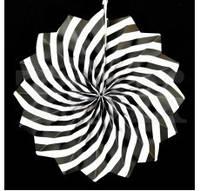 Бумажный веер с рисунком 20 см.  черный