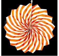 Бумажный веер с рисунком 30 см.  оранжевый