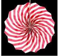 Бумажный веер с рисунком 30 см.  малиновый