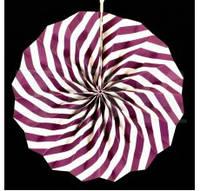 Бумажный веер с рисунком 30 см.  фиолетовый