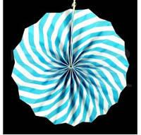 Бумажный веер с рисунком 40 см.  голубой