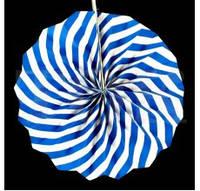 Бумажный веер с рисунком 20 см.  синий