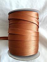Лямівка атласна 15 мм, косая бейка, золотисто коричневий№ 40