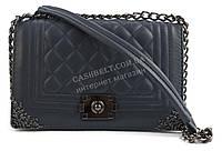 Стильный небольшая качественная женская каркасная сумочка клатч с ремешком с цепи Suliya art. 840-1 синяя