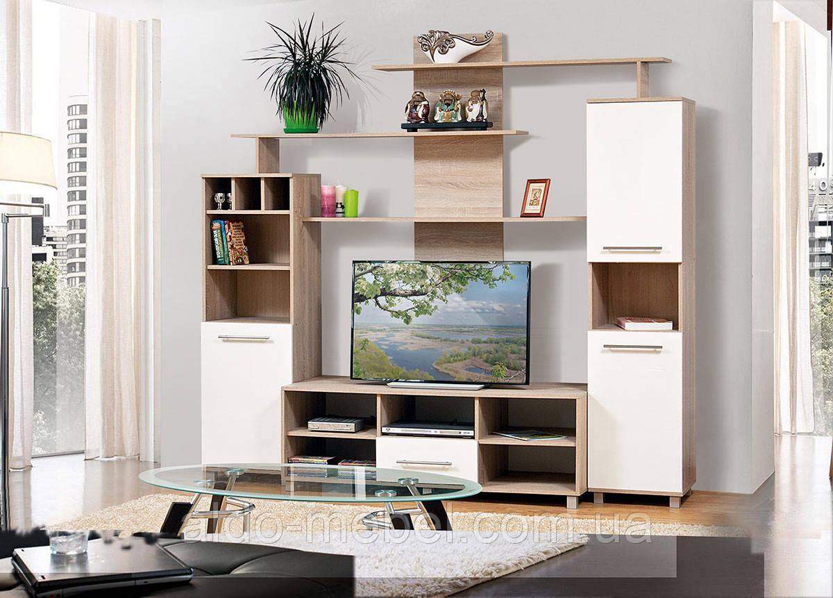 Гостиная, горка, стенка Виннер 2 Общие габариты Ш - 2200 мм, В - 2060 мм, Г - 515 мм (Мир мебели)