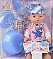 Кукла пупс синий костюмчик 9 предметов 8 функций