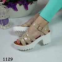 Босоножки женские бежевые тракторная платформа  балетки, женская летняя обувь