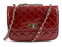 Стильный небольшая качественная лаковая женская каркасная сумочка клатч  Suliya art. 7571 красная