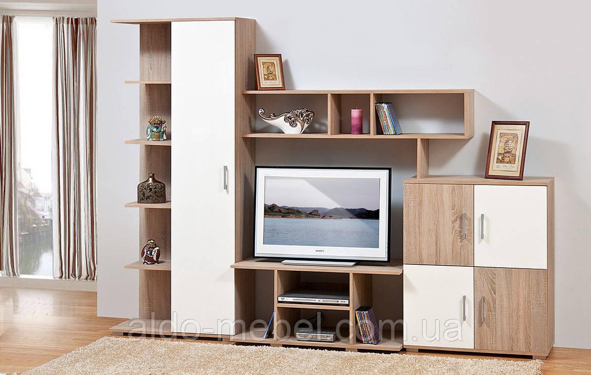 Гостиная, горка, стенка Виннер 3 Общие габариты Ш - 2580 мм, В - 1890 мм, Г - 470 мм (Мир мебели)