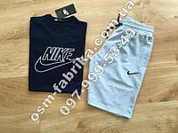 Прикольный мужской летний комплект NIKE синяя футболка + черные шорты Nike