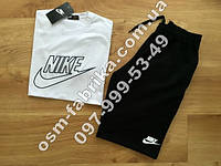 Летний комплект для мужчин NIKE белая футболка + черные шорты Nike