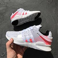 Кроссовки Adidas EQT Support ADV белые с розовым. Живое фото. Топ качество! (адидас eqt)