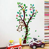 Наклейка виниловая Обезянкы на дереве 3D декор