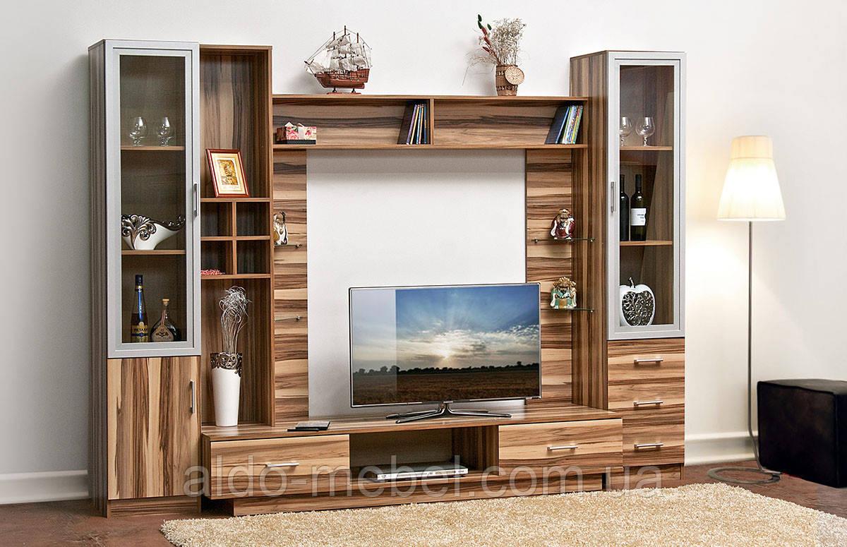 Гостиная, горка, стенка Балтимор Общие габариты Ш - 2700 мм, В - 2000 мм, Г - 585 мм (Мир мебели)
