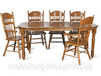 Раскладной стол для кухни, дуб кантри, 4278, на 4х точенных ножках.