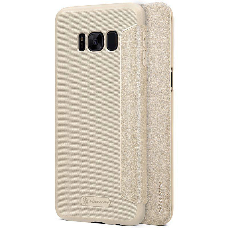 Кожаный чехол (книжка) Nillkin Sparkle Series для Samsung G950 Galaxy S8 Золотой