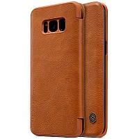 Кожаный чехол (книжка) Nillkin Qin Series для Samsung G955 Galaxy S8 Plus Коричневый