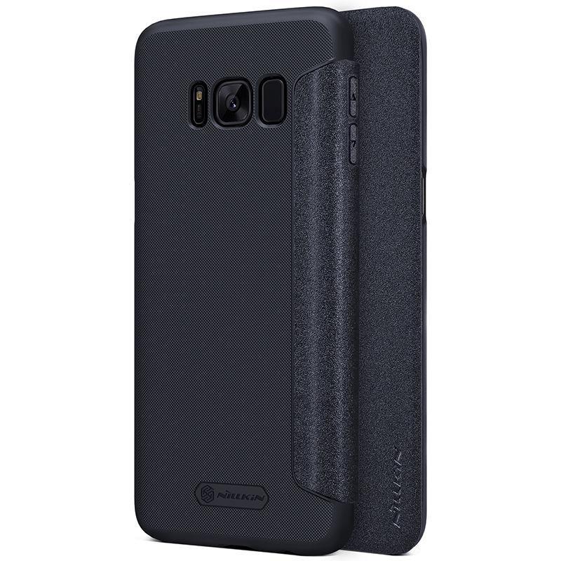 Кожаный чехол (книжка) Nillkin Sparkle Series для Samsung G955 Galaxy S8 Plus Черный