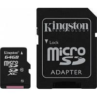 Карта пам'яті Kingston microSDCХ 64GB Class 10 + SD адаптер