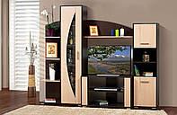 Гостиная, горка, стенка Мадера Общие габариты Ш - 2270 мм, В - 1865 мм,Г - 455 мм (Мир мебели)