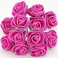 Роза латекс 2см (цена за букет 12 шт).Цвет - МАЛИНОВЫЙ