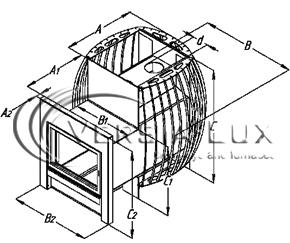 """Дровяная банная печь сетка """"Скала-20"""" с выносом, фото 2"""