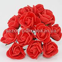 Роза латекс 2см (цена за букет 12 шт).Цвет - КРАСНЫЙ