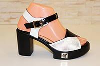 Босоножки женские черные с белым на каблуке Б804 р 36,38,39