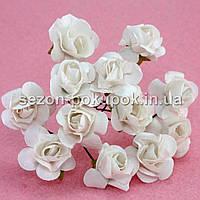 Роза бумажная 1,5см (букет 12 шт). Цвет - БЕЛЫЙ