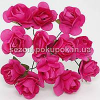 Роза бумажная 1.5см (букет 12 шт). Цвет - МАЛИНОВЫЙ
