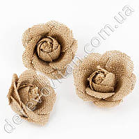 Розы из мешковины, 7.5 см × 5 см, 3 шт.