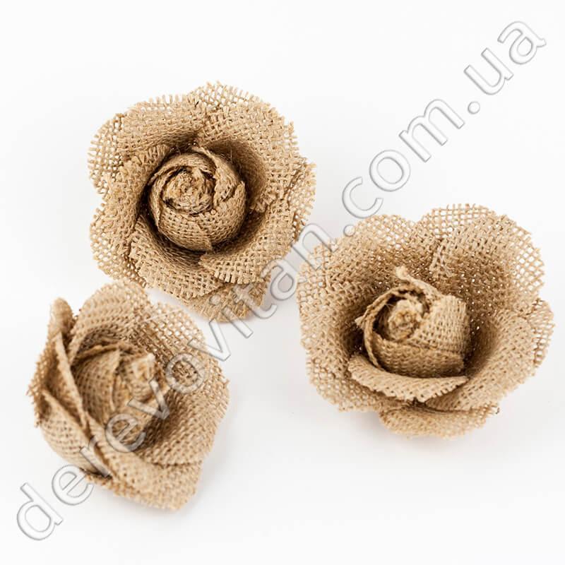 """Розы из мешковины, 7.5 см × 5 см, 3 шт.  - """"Дерево вітань"""", интернет-магазин в Одессе"""