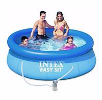 Надувной бассейн Intex 28114 244х76см + фильтр насос + тент + подстилка