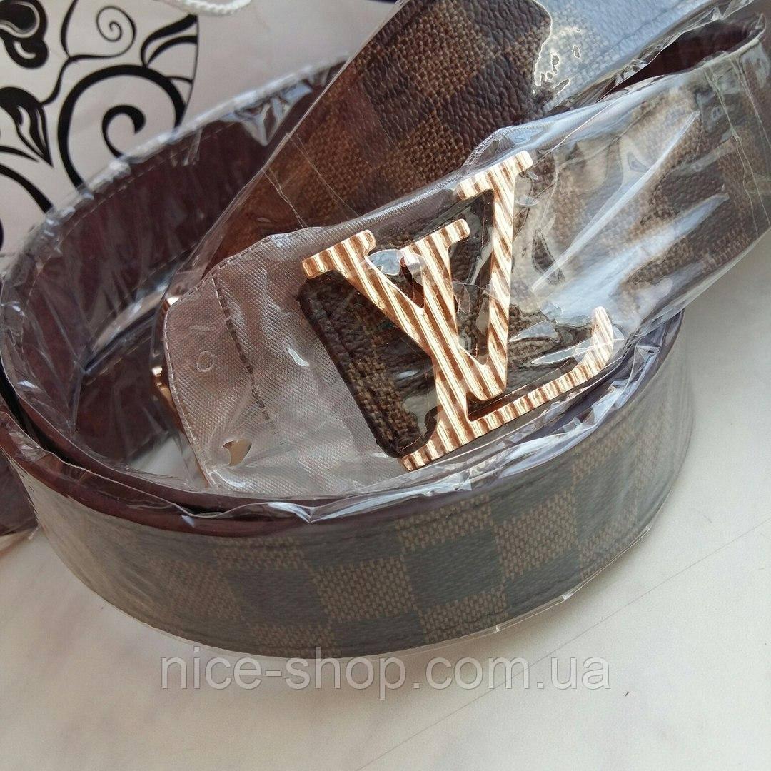 Ремень Louis Vuitton коричневый в клетку, фурнитура под золото