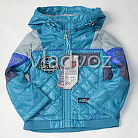 Детская демисезонная куртка ветровка для мальчика 6-7 лет бирюза 116р-122р.