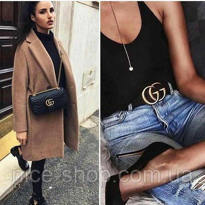 Ремень Gucci черный с золотой матовой пряжкой стандарт 3,8 см, фото 2