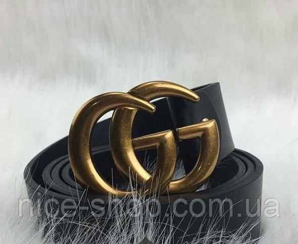 Ремень Gucci черный с золотой матовой пряжкой стандарт 3,8 см