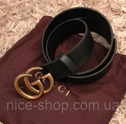 Ремень Gucci черный с золотой пряжкой глянец, фото 3