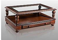 Классический деревянный журнальный столик Карло со стеклянной столешницей