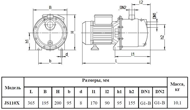 Поверхностный бытовой насос «Насосы + Оборудование» JS 110X размеры
