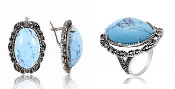 Серебряный комплект кольцо и серьги c бирюзой и черными камнями
