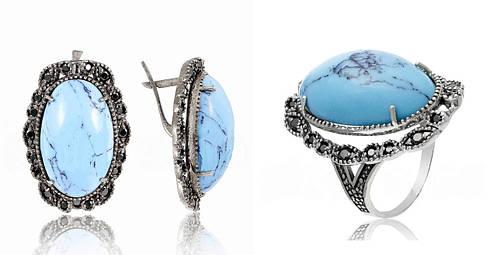 Серебряный комплект кольцо и кулон с голубой шпинелью