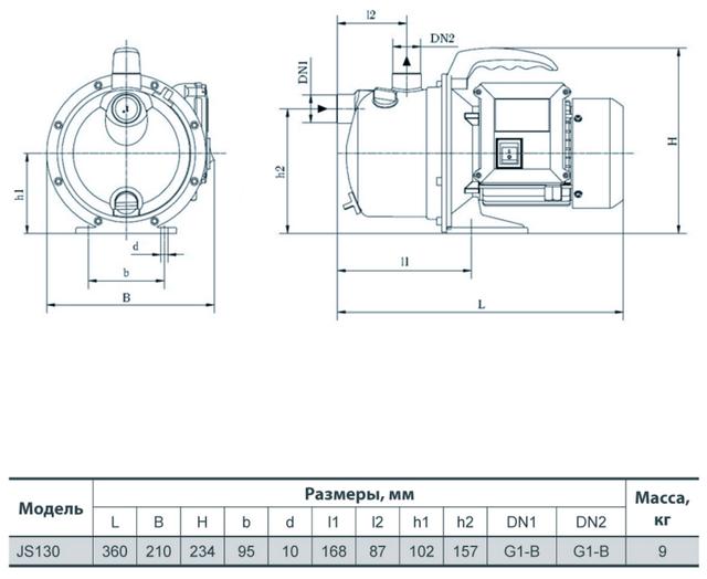 Поверхностный бытовой насос «Насосы +» JS 130 размеры