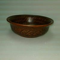 Миска 21см Борщевая с декором красная глина