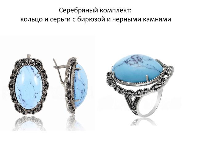 Серебряный комплект кольцо и серьги с бирюзой и камнями фото