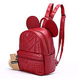 Рюкзак жіночий Мишка з вушками (червоний), фото 3