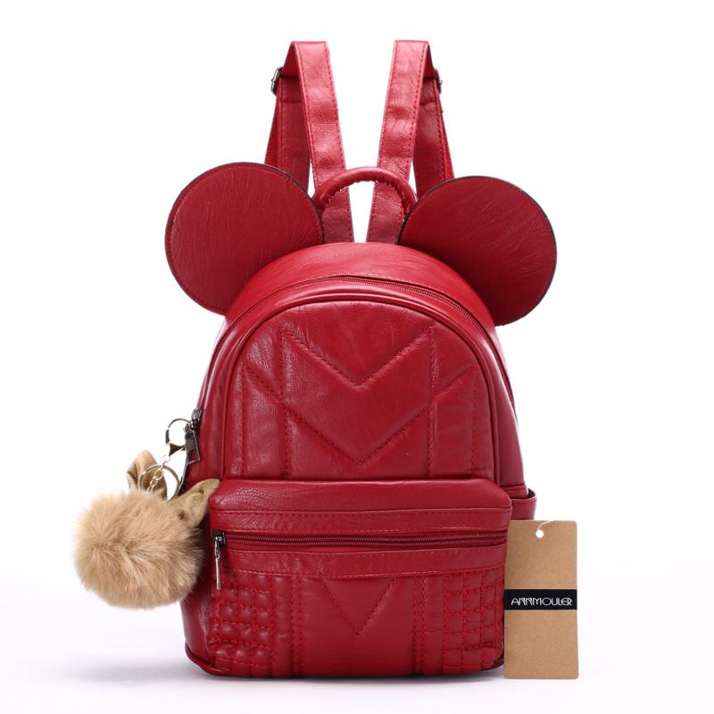 Рюкзак жіночий Мишка з вушками (червоний)