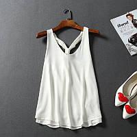 Нежная женская шифоновая блузка топ кремового цвета